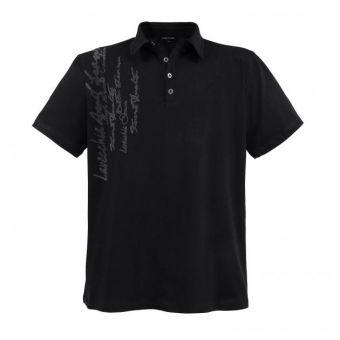 Lavecchia Fashion Polo in black with writing print