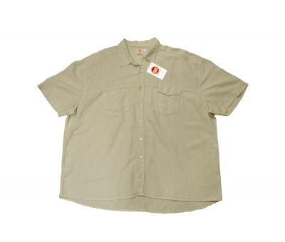Linenshirt, short sleeve, grey/beige